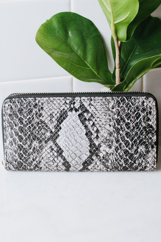 Metallic Snake Print Wallet