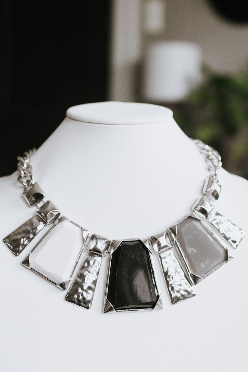 XL Chunky Stone & Metal Bar Necklace (Sale)