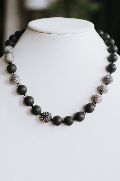 Wood Bead Strand Shamballa Middle Necklace