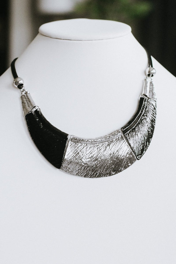 Textured Metal Plate Necklace