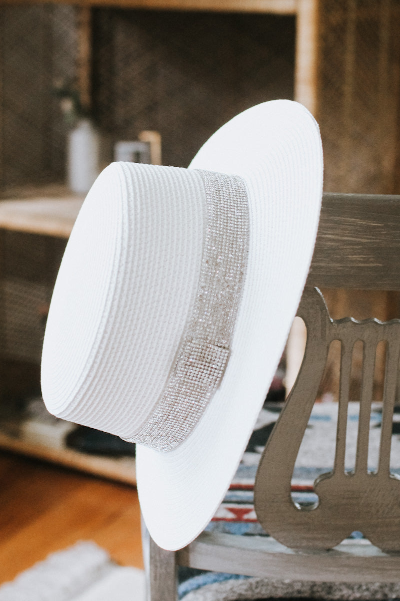 Flat Top Rhinestone Strip Panama Hat