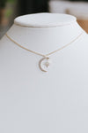 Dainty Rhinestone Moon Necklace