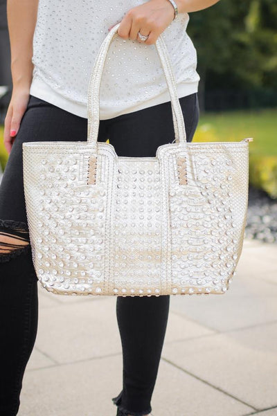 All Rhinestone Alligator Print Tote - Glitz & Ears