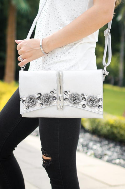 Rhinestone Roses Zipper Middle Messenger-Glitz & Ears Boutique