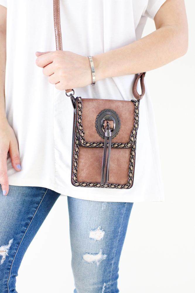 Chain Trim & Tassel Flap Messenger - Glitz & Ears