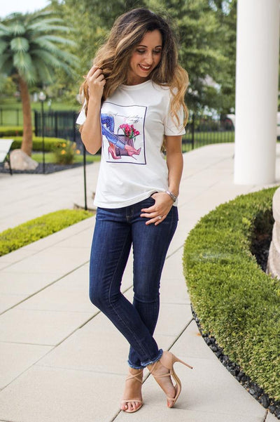 Graphic Top with Heels T-Shirt-Glitz & Ears Boutique