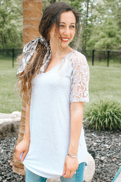 Lace Short Sleeve V-Neck Top (Sale)