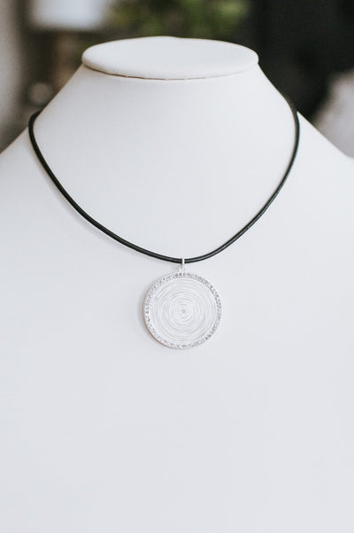 Rhinestone Trim Spiral Pendant Necklace