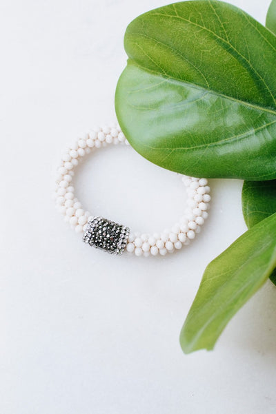 Shiny Bead Bracelet with Druzy Stone