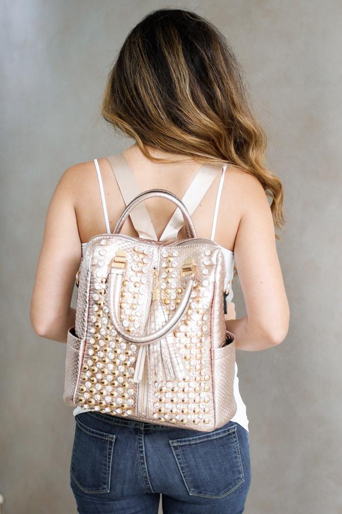 Metallic & Rhinestone Backpack