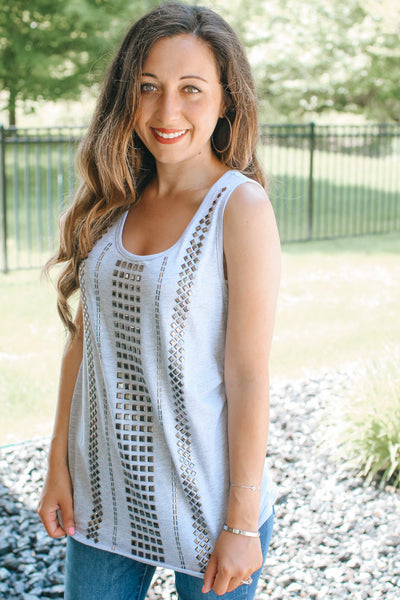 Stud Row Front Tank Top