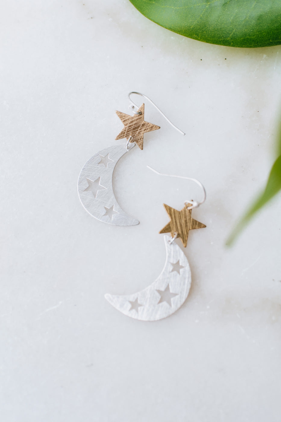 Scratched Metal Star & Moon Earring