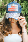 Rhinestone Outline Flag & Bill Baseball Hat