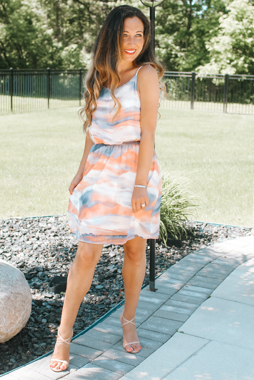 Watercolor Tie-Dye Chiffon Dress