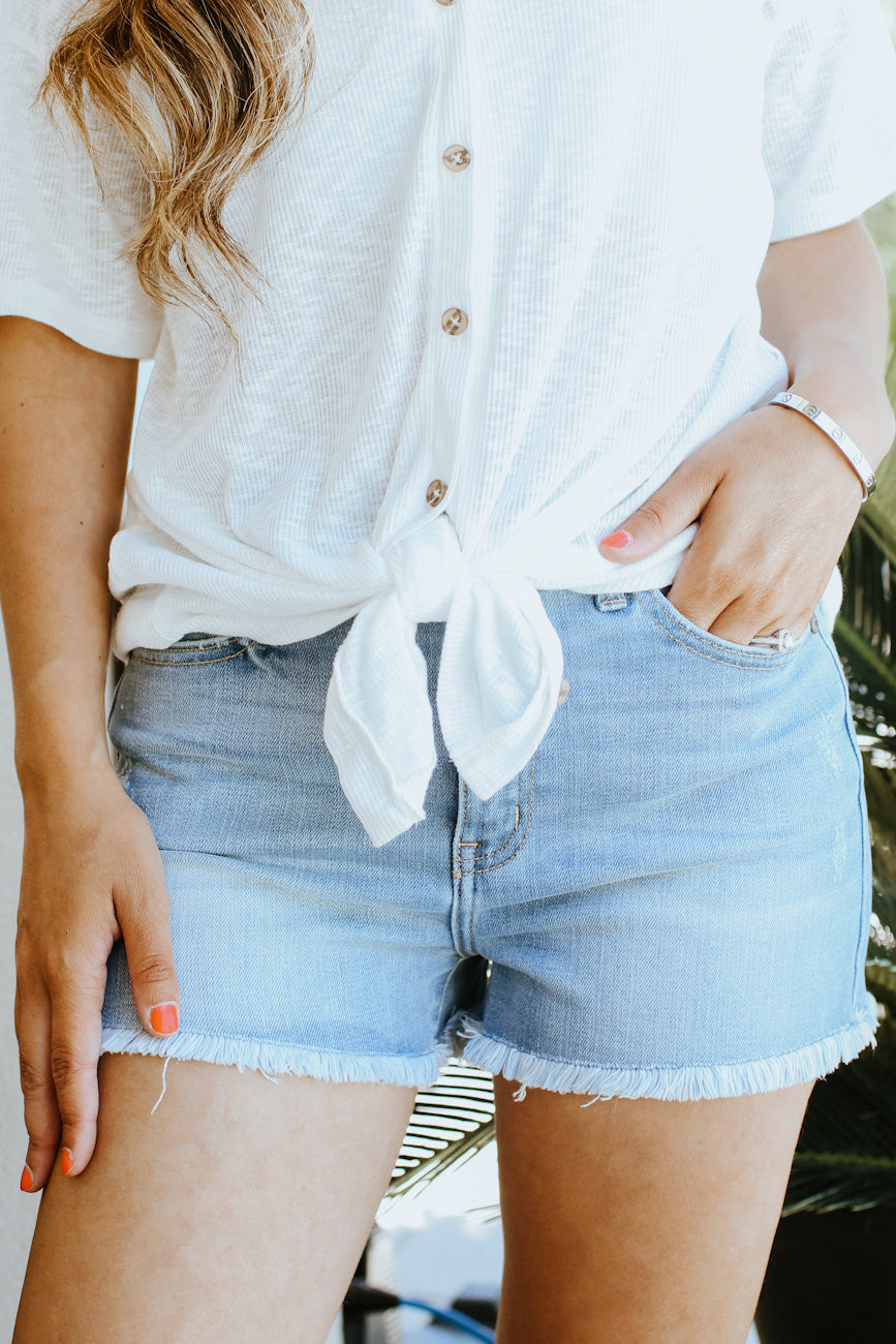 High Waisted Light Wash Shorts (Sale)