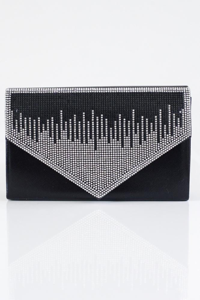 Two-Tone Rhinestone Line Flap Clutch