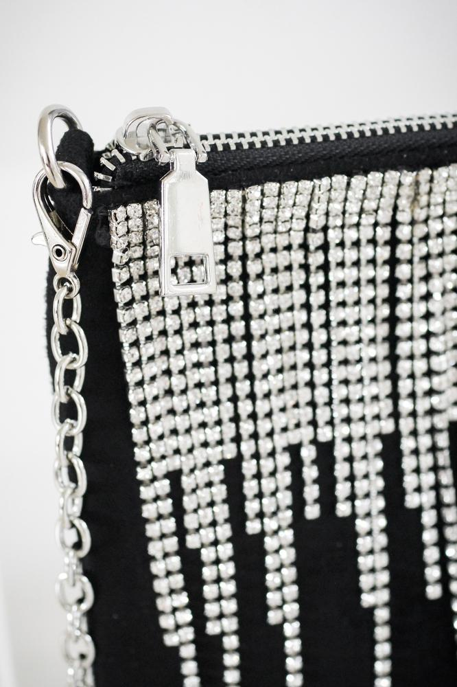 Different Length Rhinestone Fringe Bag - Glitz & Ears