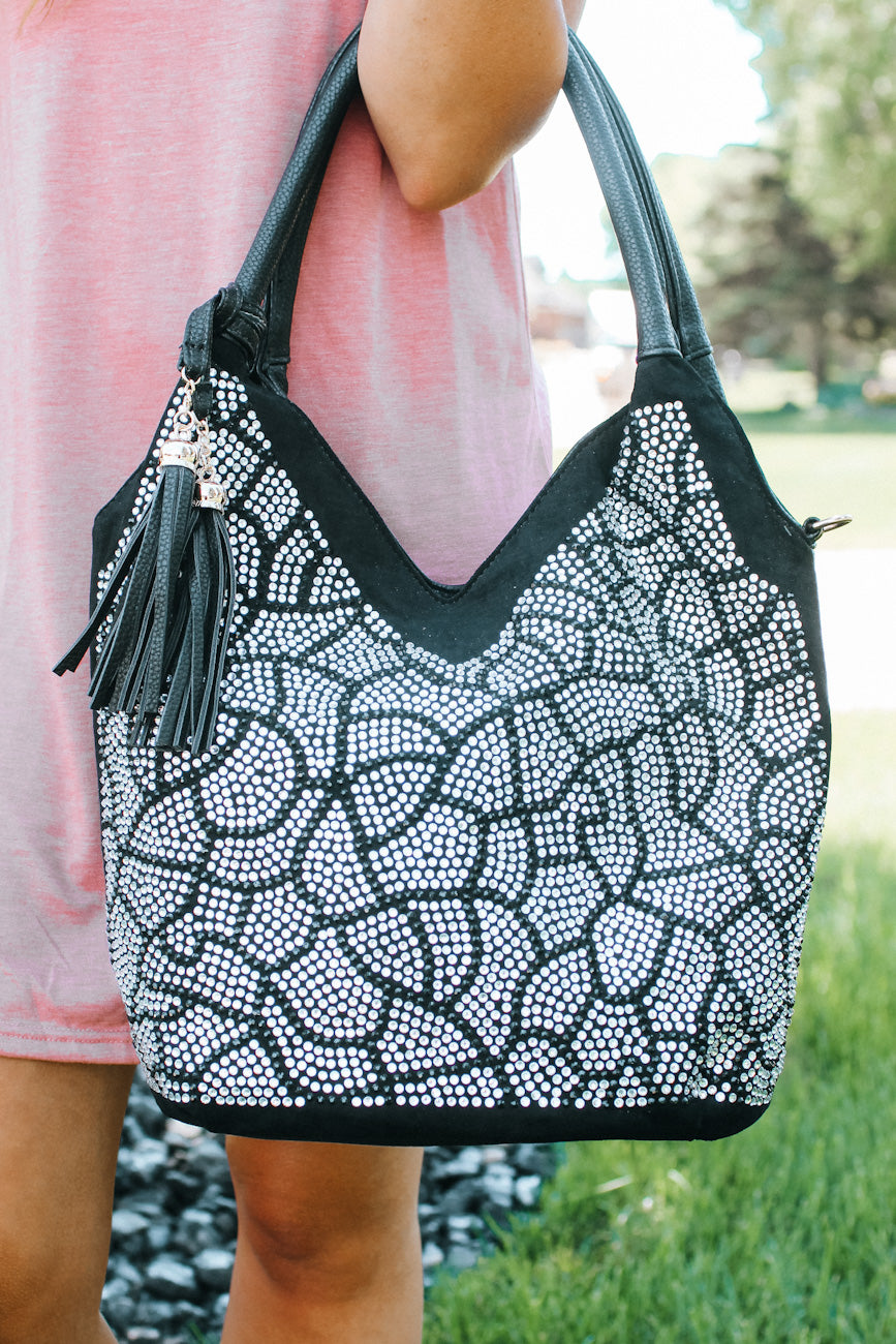 Rhinestone Design with V Front Purse