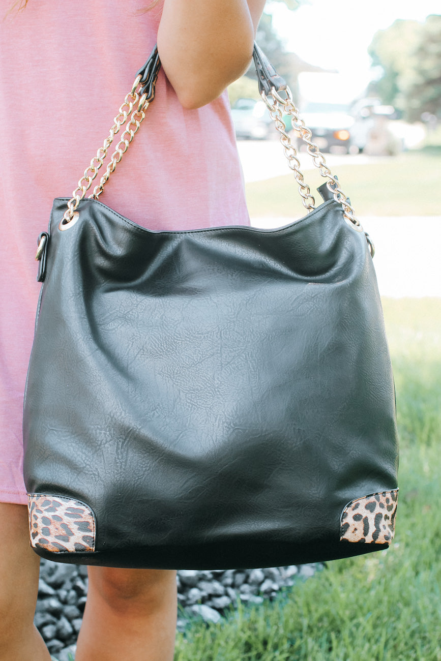Leopard Bottom Gold Chain Handle Purse