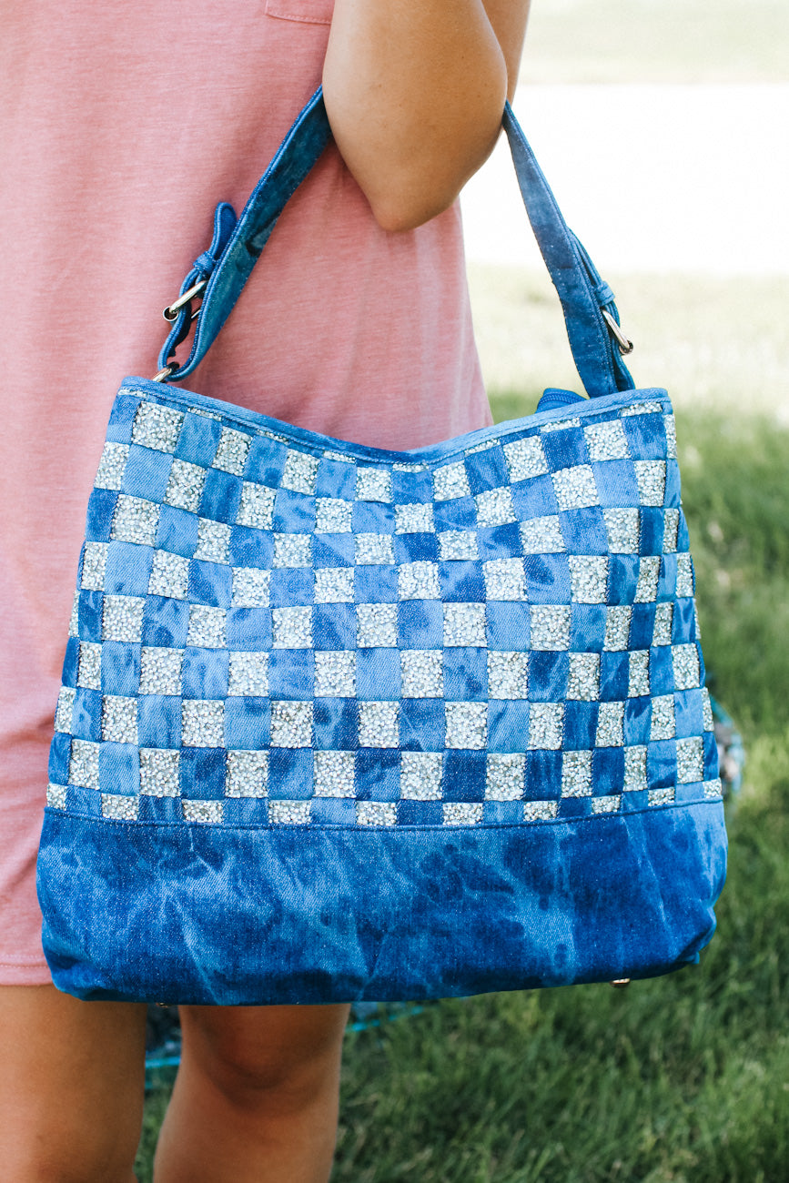 Denim with Crushed Stone Checker Front Purse