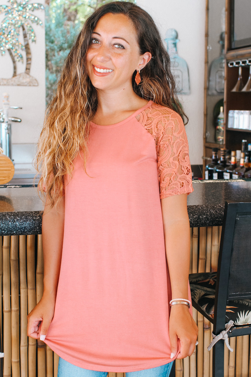Scoop Neck Lace Sleeve Tunic Top