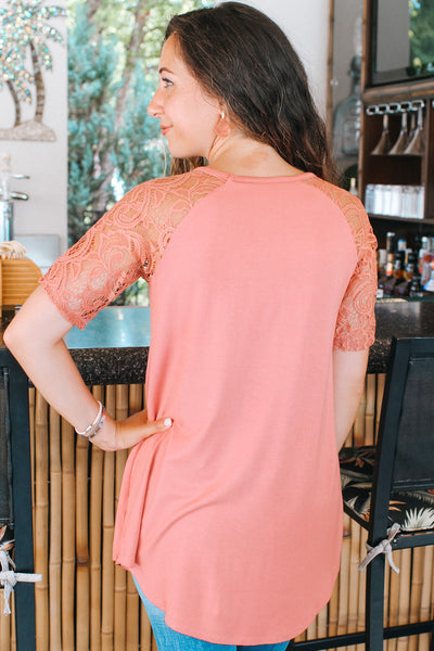 Scoop Neck Lace Sleeve Tunic Top (Sale)
