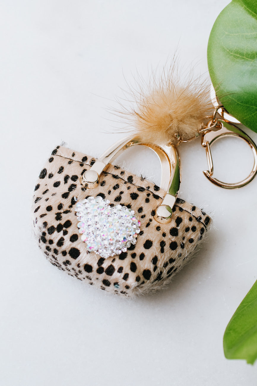 Faux Fur Purse Keychain with Heart