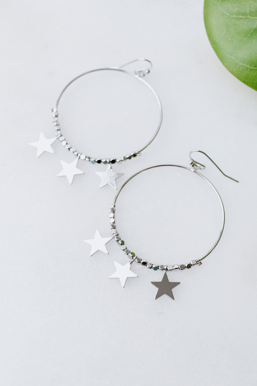 Circle with Star Bottom Earring