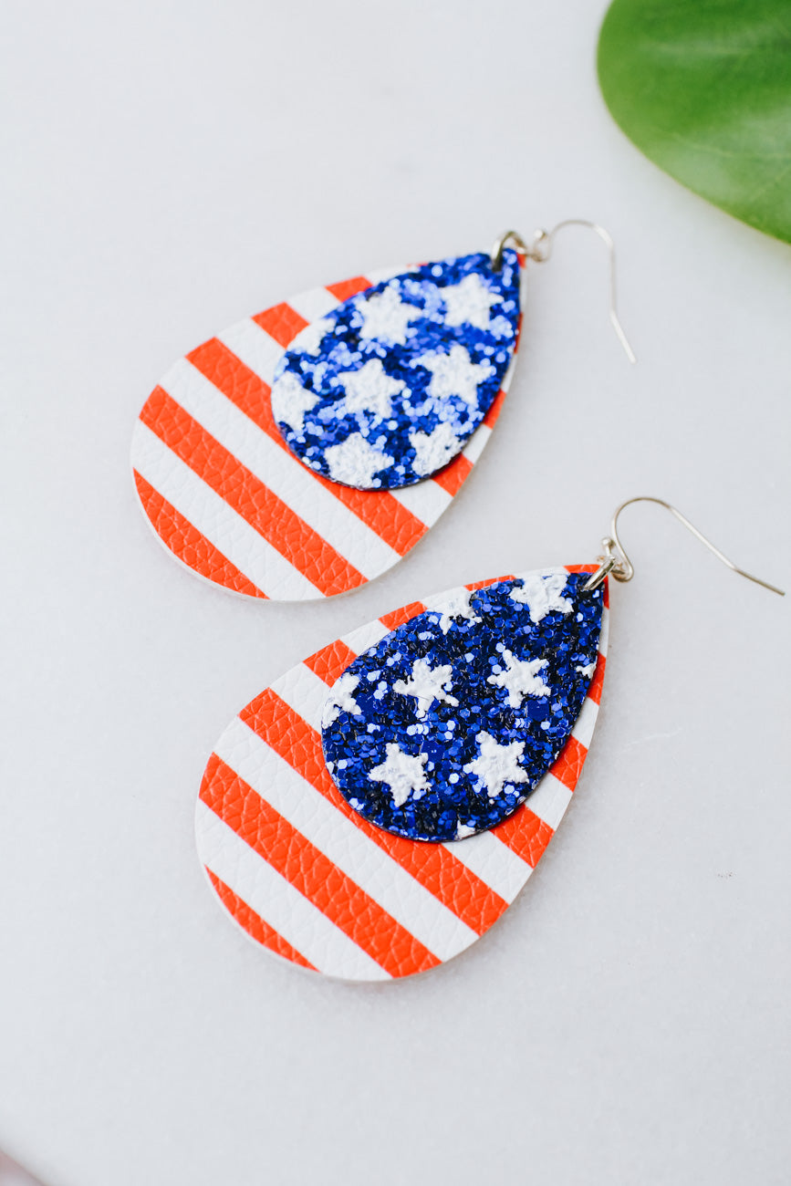 Sequin Faux Leather Teardrop Flag Earring