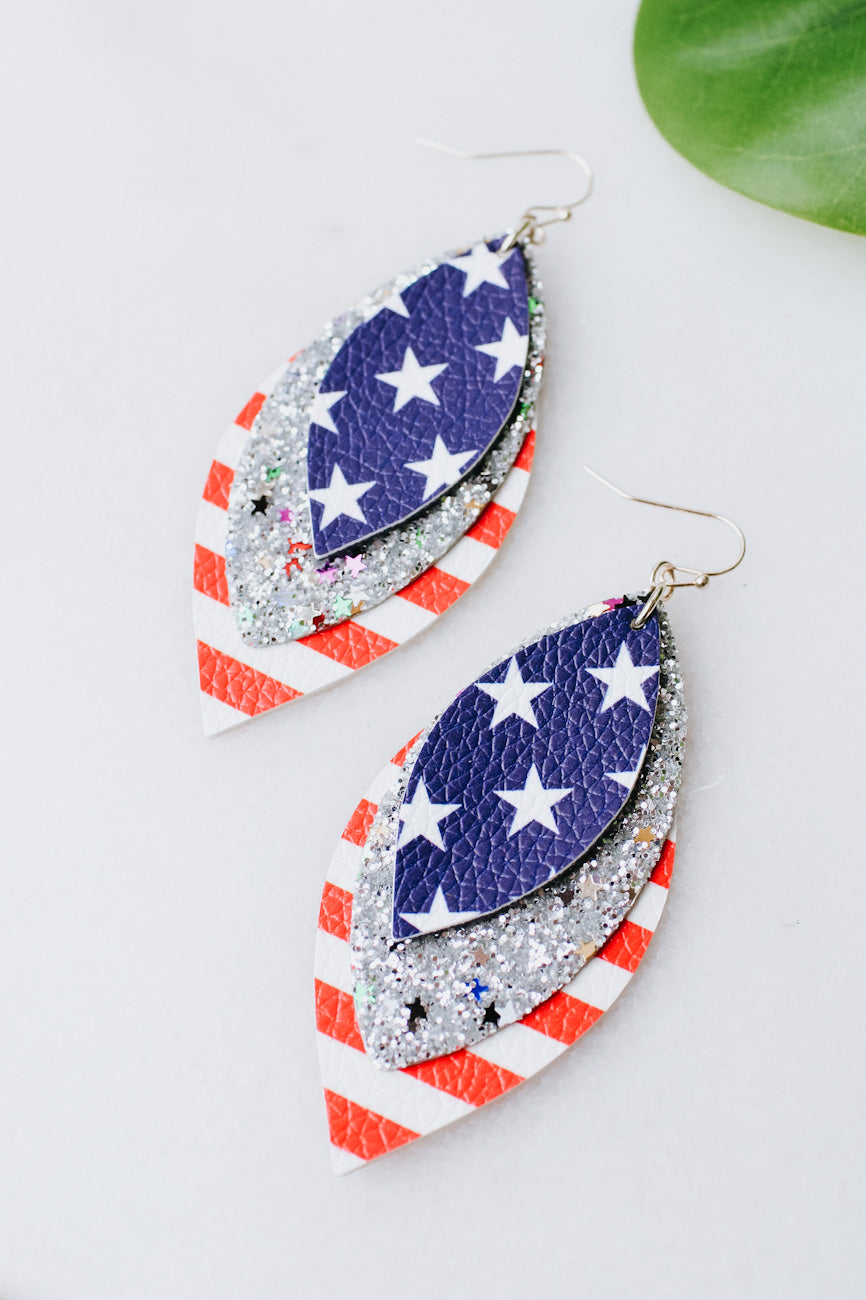 3 Layer Leather Flag Earring