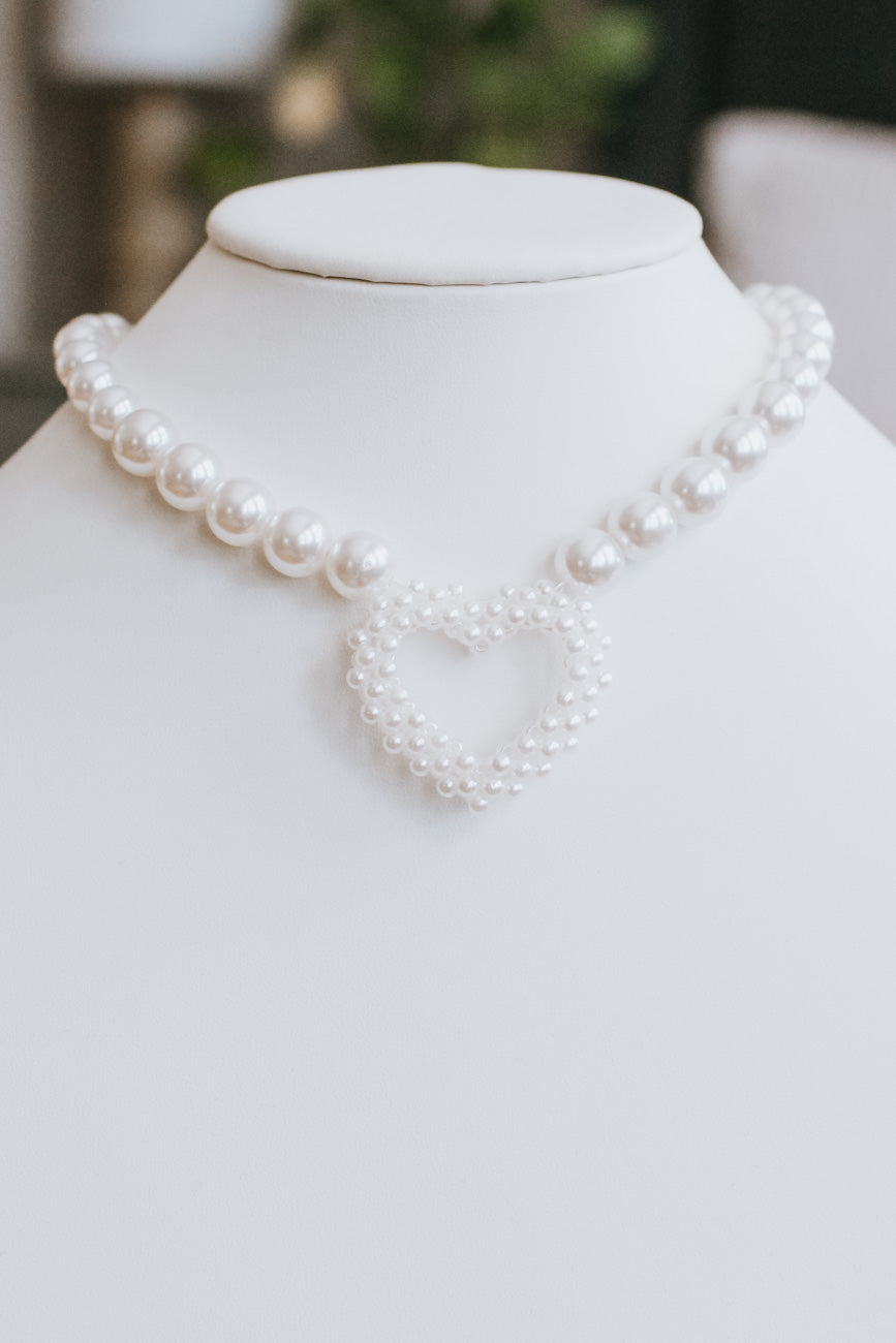Pearl Chain with Pearl Heart Necklace