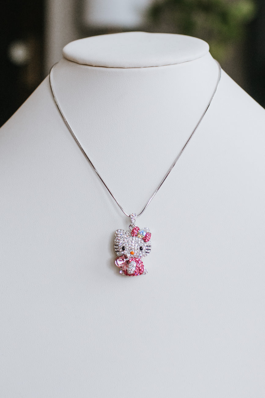 Large Hello Kitty & Heart Necklace