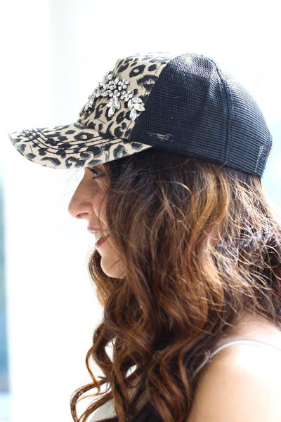 Almond Stone Flowers Leopard Baseball Hat - Glitz & Ears