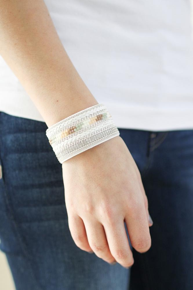Thick Braid & Square Stone Bracelet