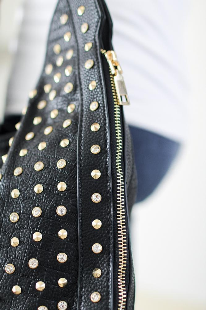 Rhinestone & Spike Zipper Side Hobo Bag