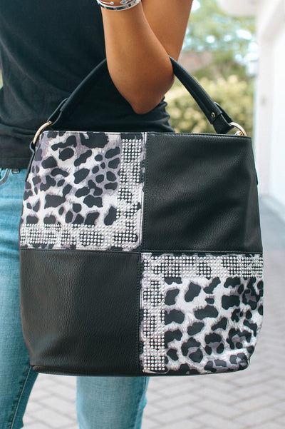 Four Square Suede & Rhinestone Purse