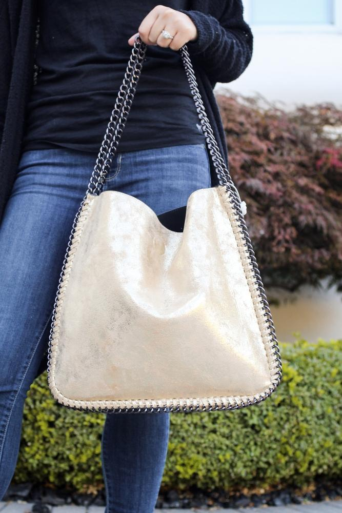 Metallic Chain Trim Purse