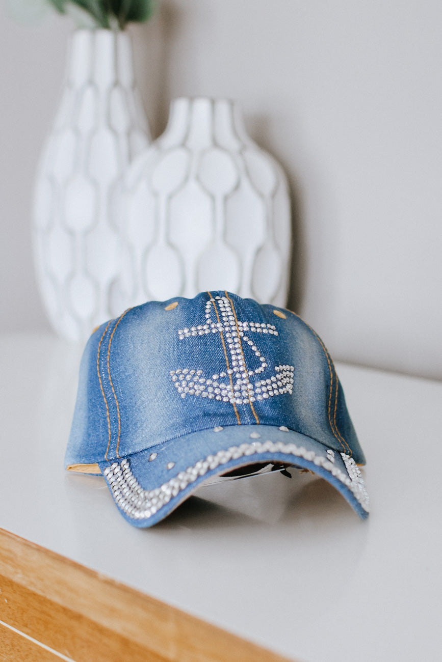 Rhinestone Anchor Baseball Hat