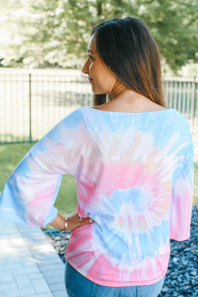 Tie Dye Button Up Tie Top (Sale)