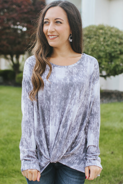 Tie-Dye Balloon Sleeve V-Neck Top