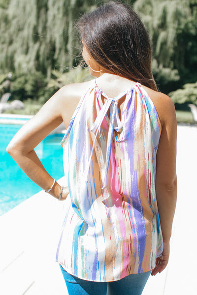 Colorful Striped Bow Back Tank Top (Sale)