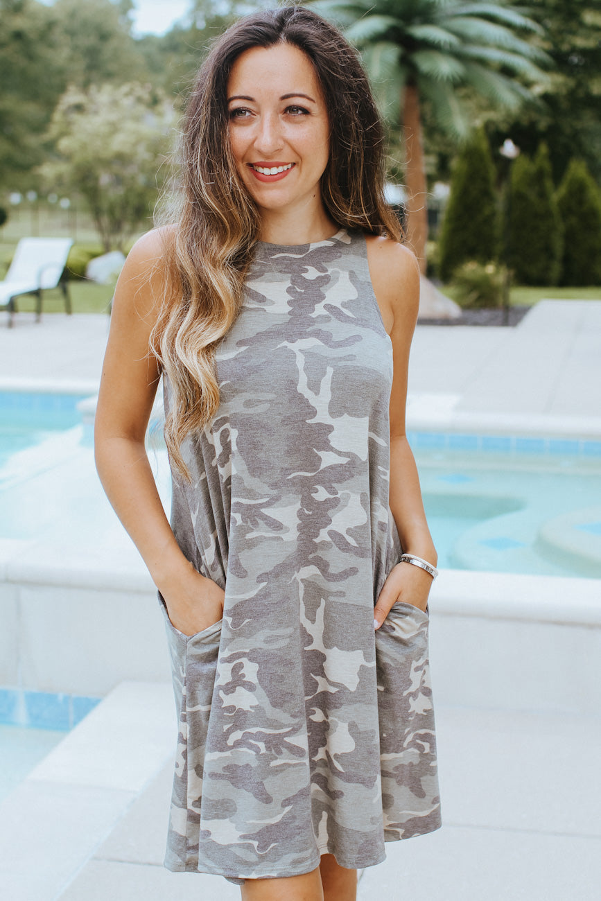Racerback Camo Shift Dress