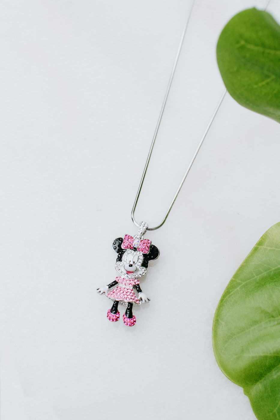 Minnie Mouse & Pink Dress Necklace