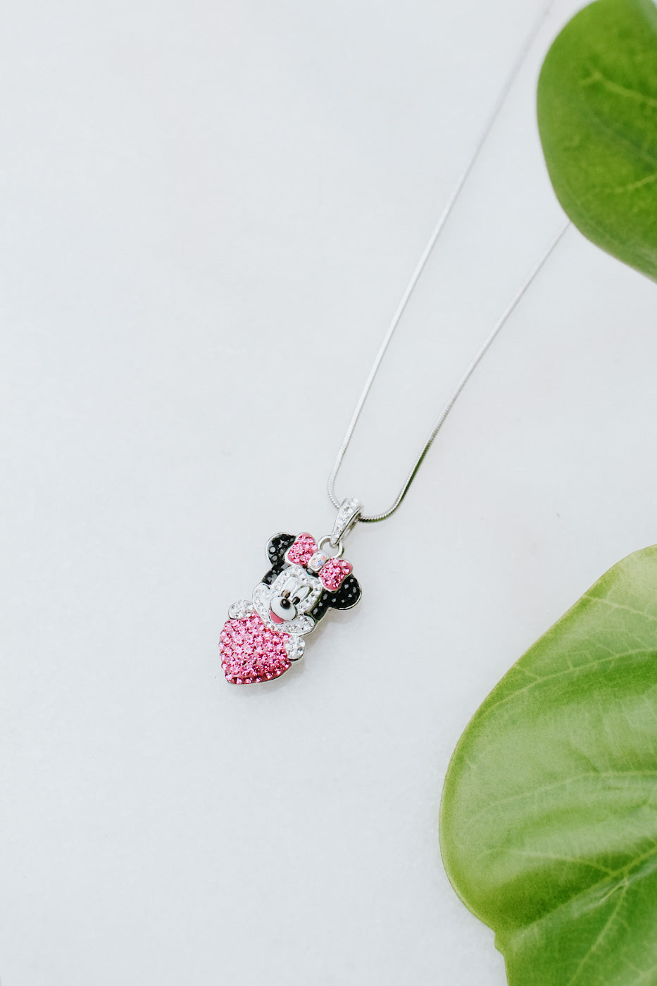 Minnie Mouse Head & Heart Necklace