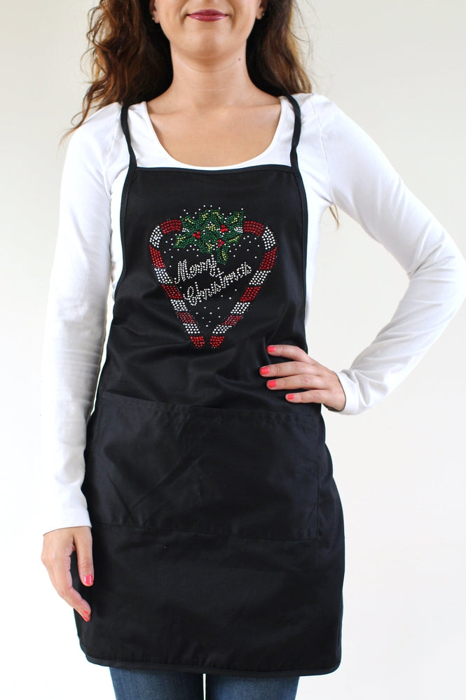 Candy Cane Merry Christmas Apron - Glitz & Ears