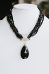 Thick Bead Chain Teardrop Pendant Necklace
