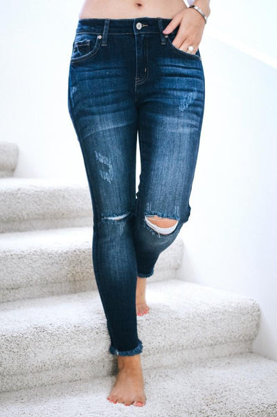 Fray Ankle Small Distressed Skinny Jean-Glitz & Ears Boutique