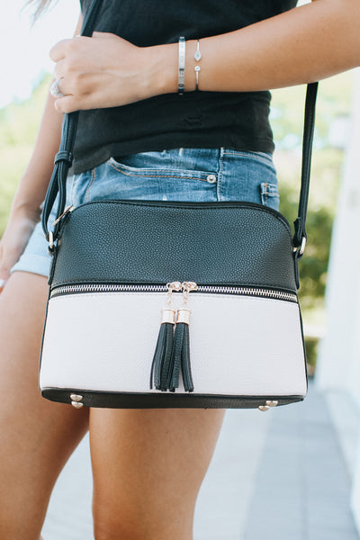 Two Tone Zipper Middle Messenger