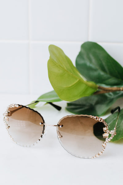 Rounded Shape with Flower Stones Sunglasses