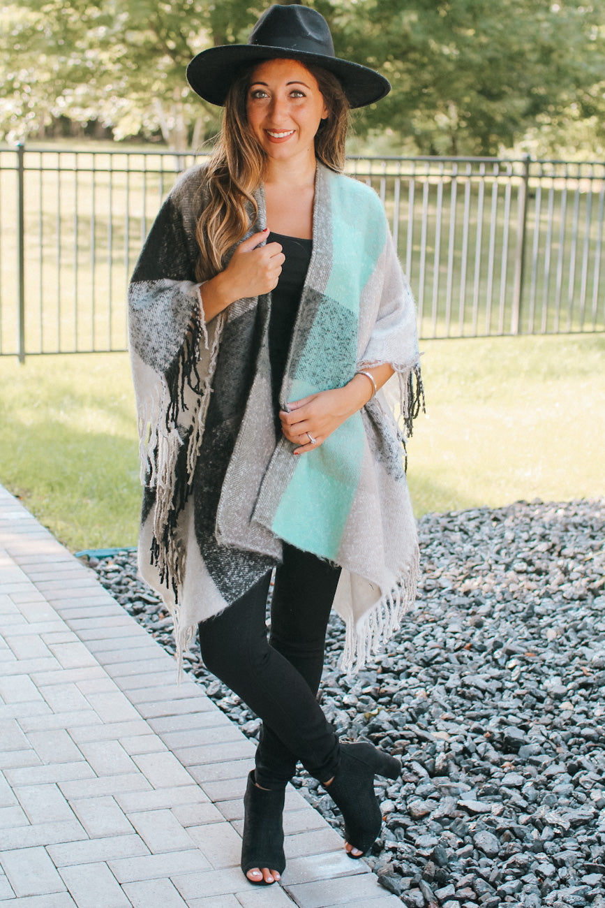 Thick Plaid Poncho with Fringe Bottom